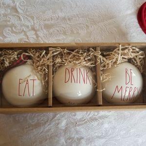 Rae Dunn set of 3 Christmas ornaments